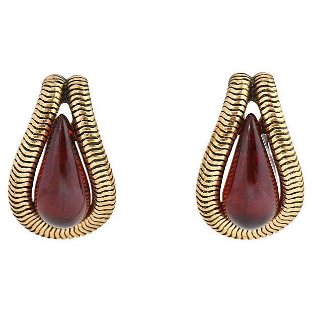 Red Oscar De La Renta Ruby Red Earrings For Sale - Image 8 of 8