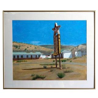 1990s Roadside Desert Motel Robert Biancalana Original Painting For Sale