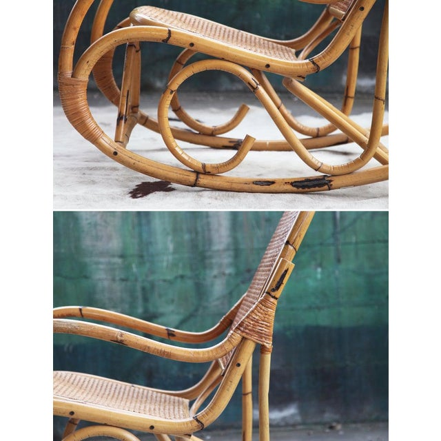 Brown Mid-Century Hollywod Regency Boho Style Chic Rocking Chair For Sale - Image 8 of 11