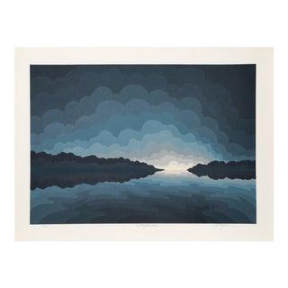 "Roy Ahlgren, ""Twilight Bay"", Abstract Landscape Silkscreen For Sale"