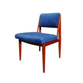Mid-Century Modern Mahogany Blue Velvet Desk & Vanity Chair