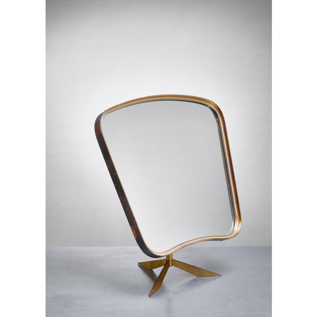 Brass Console Mirror on Tripod Foot, Germany, 1950s For Sale - Image 4 of 4