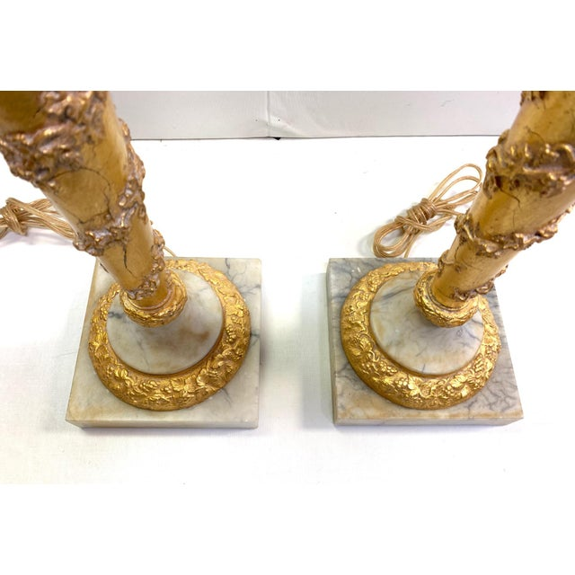 Gold 1950s Vintage French Empire Gold Dore Marble Table Lamps- a Pair For Sale - Image 8 of 11
