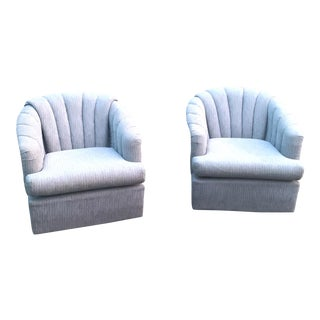 1980s Vintage Modern Channel Back Barrel Swivel Chairs - a Pair For Sale