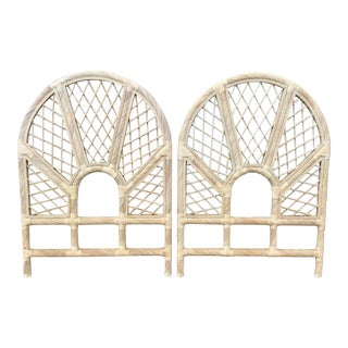 Boho Chic Rattan Twin Headboards in a White Washed Finish- a Pair For Sale