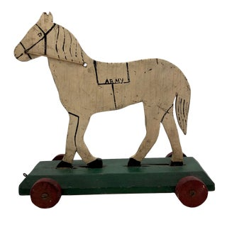 "Antique Wooden Folk Art ""Us Army"" Horse Pull Toy For Sale"