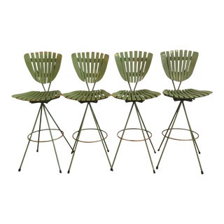 Vintage Molded Mood Slat Barstools - Set of 4