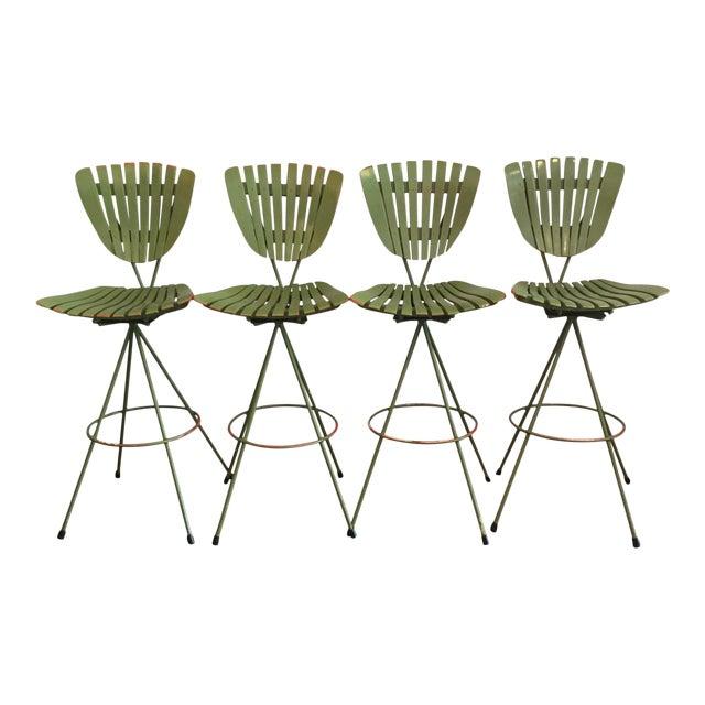 Vintage Molded Mood Slat Barstools - Set of 4 - Image 1 of 5
