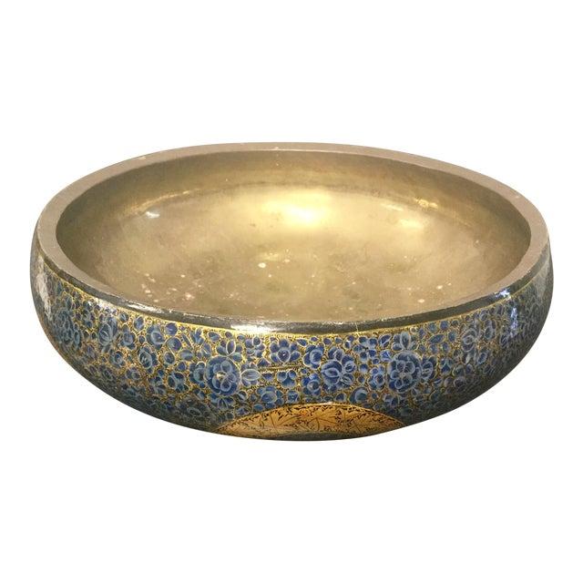 Antique Indian Kashmir Lacquer Paper Mache Bowl For Sale
