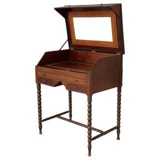 19th Rosewood Art Deco Open Up Vanity or Secretary Desk. Dressing Table For Sale