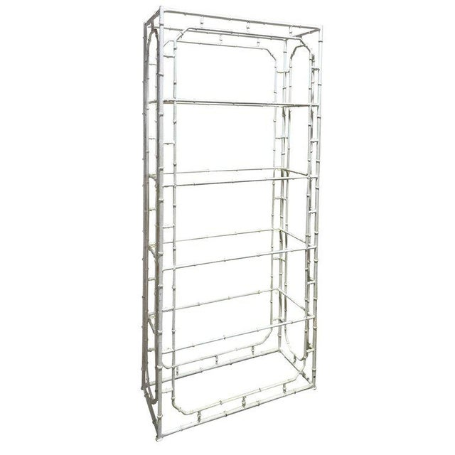 Large Faux Bamboo Iron Étagère in White For Sale - Image 10 of 10