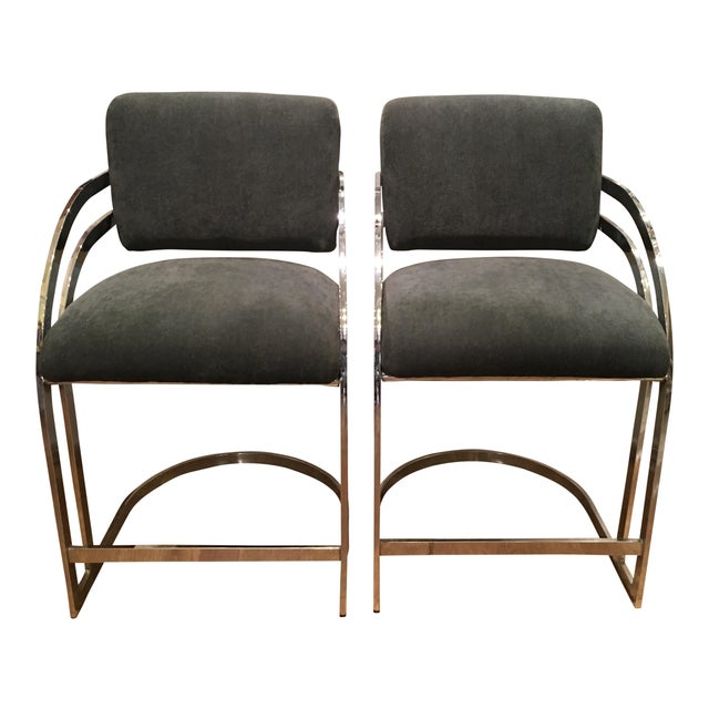 Mid-Century Milo Baughman Chrome Bar Stools - A Pair - Image 1 of 4