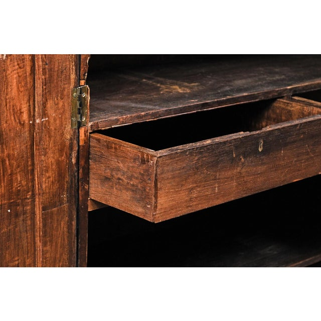 Tall Mid-20th Century British Colonial Ebonized Wood Cabinet For Sale - Image 9 of 12