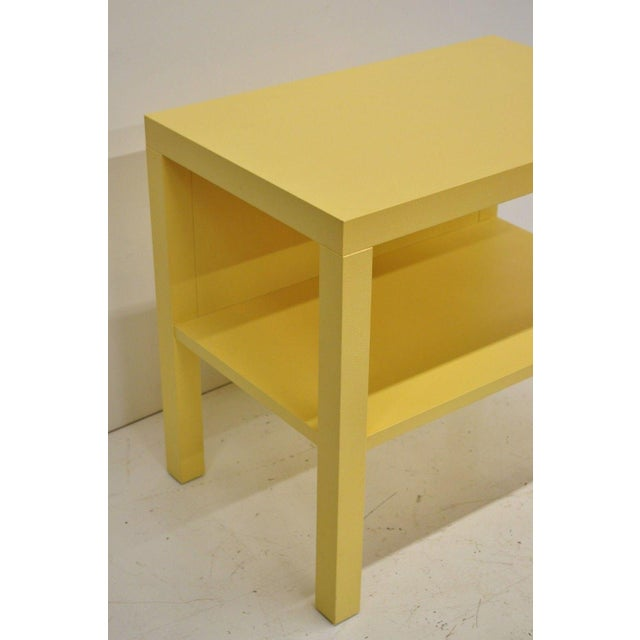 Modern Decca Yellow Grasscloth Raffia Wrapped Parsons Nightstand For Sale - Image 9 of 10