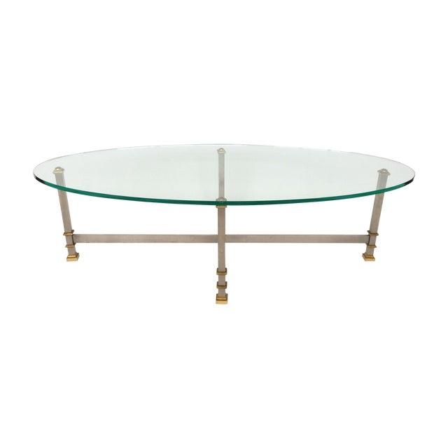 Maison Jansen Style Chrome & Brass Coffee Table - Image 1 of 6