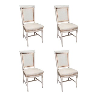 Antique Hand Painted French Dining Chairs - Set of 4 For Sale