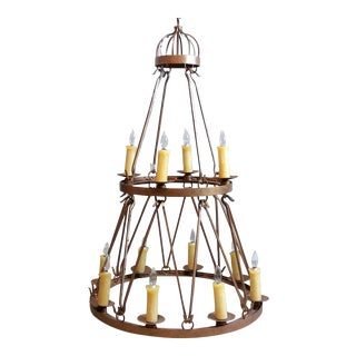Late 20th Century Vintage Handmade Wrought Iron Two Tier Chandelier For Sale
