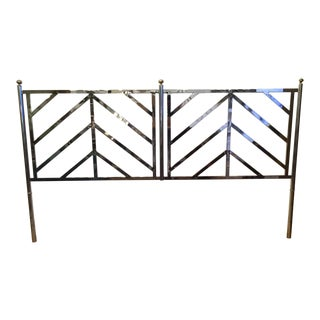 Milo Baughman Chrome Brass King Headboard For Sale