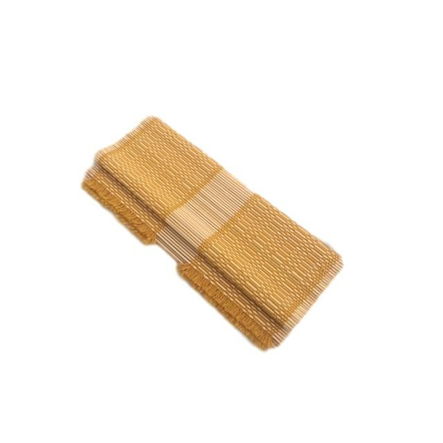 Mustard Woven Straw Placemats - Set of 4 - Image 3 of 5