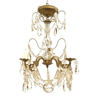 French Victorian Gilt Metal and Crystal Chandelier For Sale
