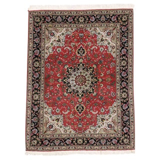 Silk Persian Tabriz Rug with Modern Traditional Style