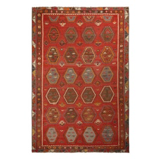 Vintage Anatolian Russet Red and Brown Wool Kilim Rug For Sale