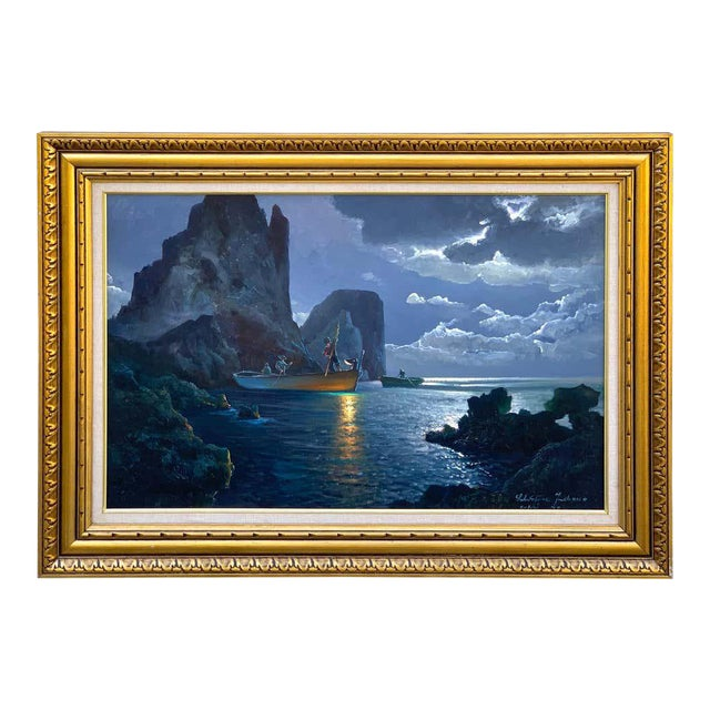 Evening Capri Seascape by Salvatore Federico, Italian, 20th Century For Sale