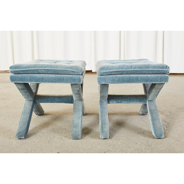 Pair of Billy Baldwin Style X Base Tufted Blue Velvet Benches For Sale - Image 10 of 13