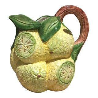 Mid 20th Century Italian Majolica Lemon Water Pitcher For Sale