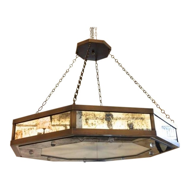Andre Hayat Large Octagonal Chandelier in Patina Bronze and Oxidized Mirror For Sale