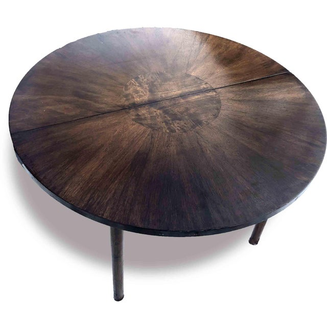 1990s 1990s Contemporary Walnut and Burl Wood 3 Leaf Extension Dining Table For Sale - Image 5 of 13