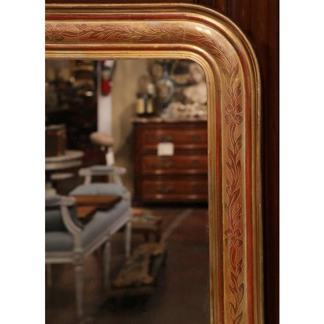 Mid-19th Century French Louis Philippe Gold Leaf Floral Design Mirror For Sale In Dallas - Image 6 of 7