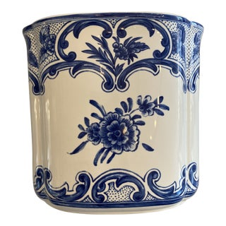 Tiffany & Co Blue and White Delft Vase Made in Portugal For Sale