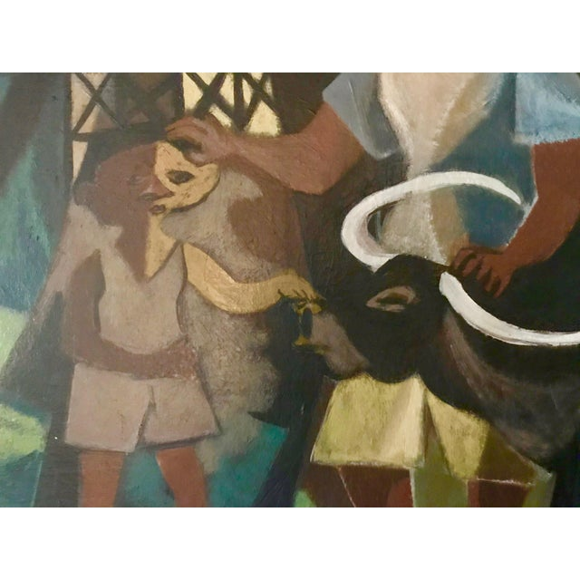 Gold 1948 Vintage William Rose Modern Oil Painting For Sale - Image 7 of 10