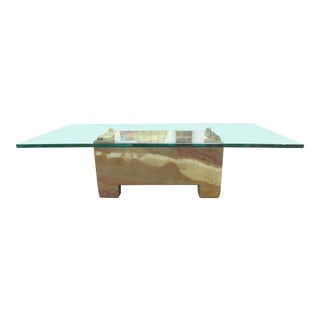 Modern Onyx, Brass & Glass Coffee Table For Sale