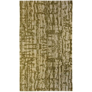 Green and Beige Patterned Area Rug For Sale