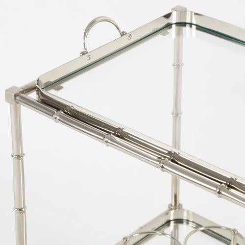 Silver 1960S SWEDISH POLISHED-NICKEL, FAUX-BAMBOO BAR CART ON CASTERS For Sale - Image 8 of 10