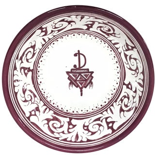 Moroccan Hand-Painted Burgundy Medium Ceramic Bowl For Sale