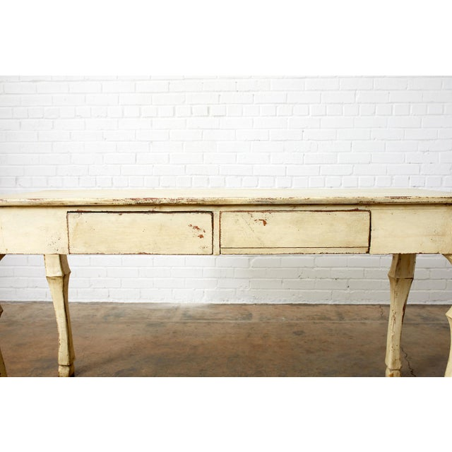 Rustic Italian Lacquered Ram's Head Motif Writing Table For Sale - Image 10 of 13