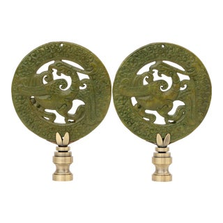 Wreathed Phoenix Lamp Finials - a Pair For Sale