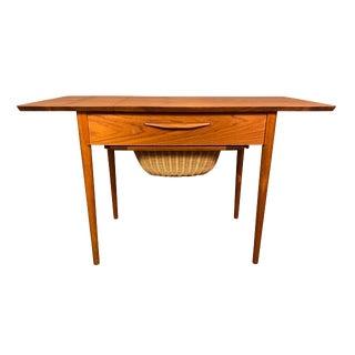 Vintage Danish Mid Century Modern Teak Sewing Drop Leaf End Table For Sale