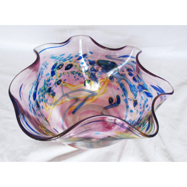 Large Multi Colored Blown Glass Art Bowl For Sale - Image 10 of 10
