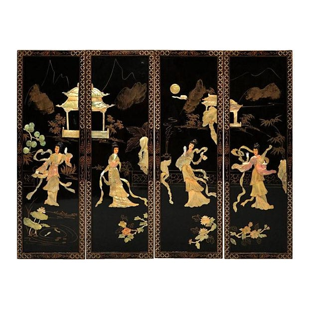 Vintage Japanese Lacquer Screen - Image 1 of 4