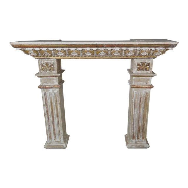 19th Century Italian Painted and Parcel Gilt Fireplace Mantel For Sale