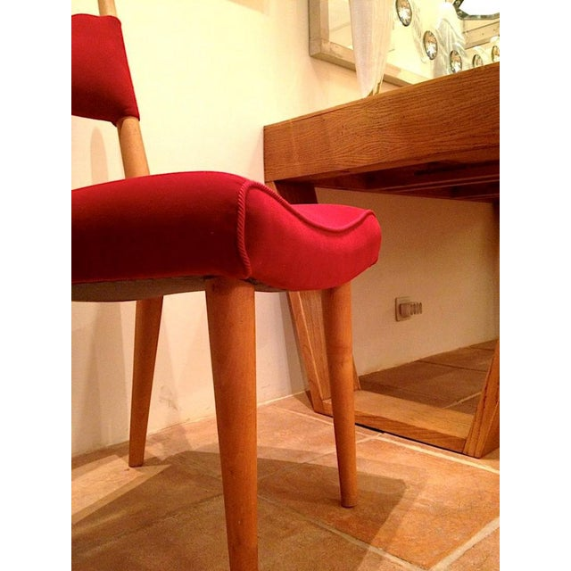 1950s Jean Royere Pair of Documented Chairs Covered in Red Velvet For Sale - Image 5 of 7