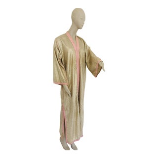 1970s Metallic Gold Moroccan Caftan, Kaftan Maxi Dress North Africa, Morocco For Sale