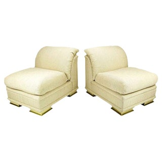 Pair of Henredon Deco Revival Slipper Chairs in Taupe Silk and Brass For Sale