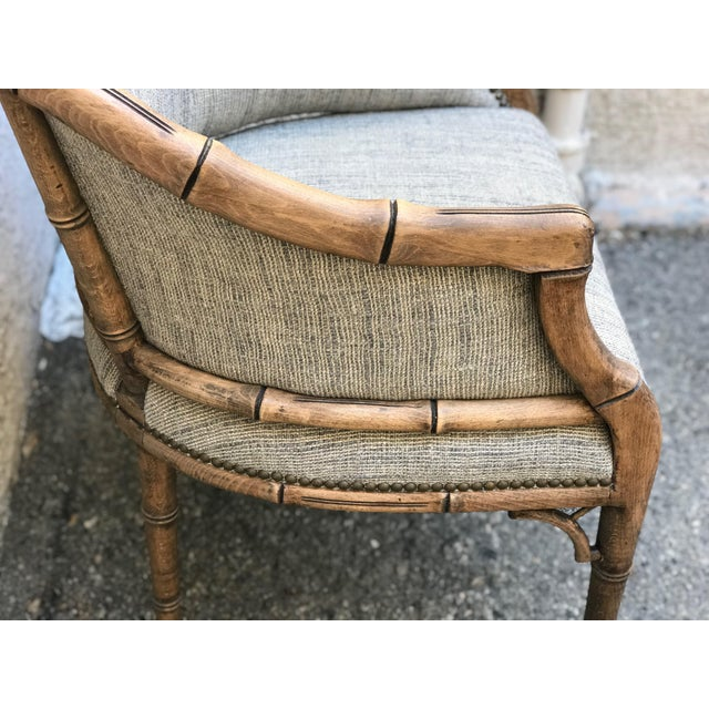 1970s Vintage Elm Carved Bamboo Style Linen Upholstered Chairs - a Pair For Sale - Image 5 of 11