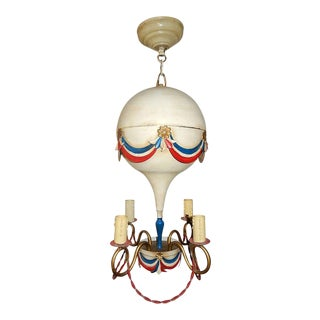 1950s Mid-Century French Tole Hot Air Balloon Chandelier For Sale