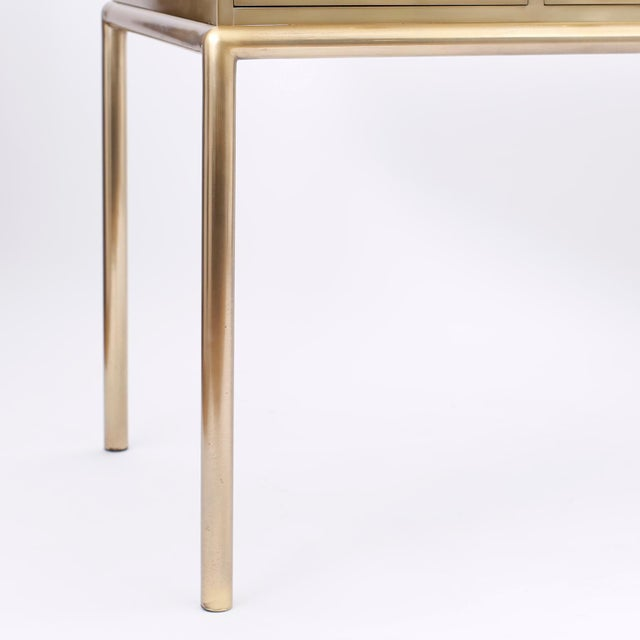 Brass and Leather Mastercraft Desk For Sale - Image 9 of 10